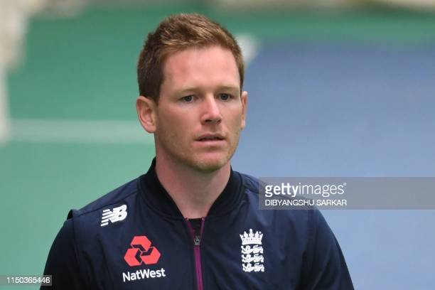 England's captain Eoin Morgan bats in the nets during a practice session at Old Trafford Cricket Ground in Manchester northwest England on June 17...