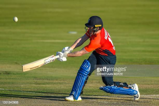 England's captain Eoin Morgan plays a shot during the third T20 International cricket match between South Africa and England at the SuperSport...