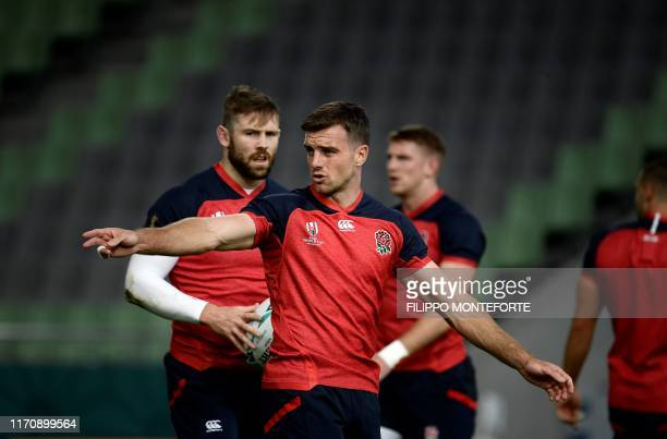 England's captain George Ford trains during the team's Captain's Run at Kobe Misaki Stadium in Kobe on September 25 a before day their Japan 2019...