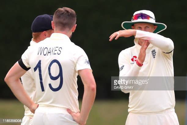 England's captain Joe Root calls for a review of leg before wicket appeal against New Zealand's Tom Latham on day one of the second cricket Test...