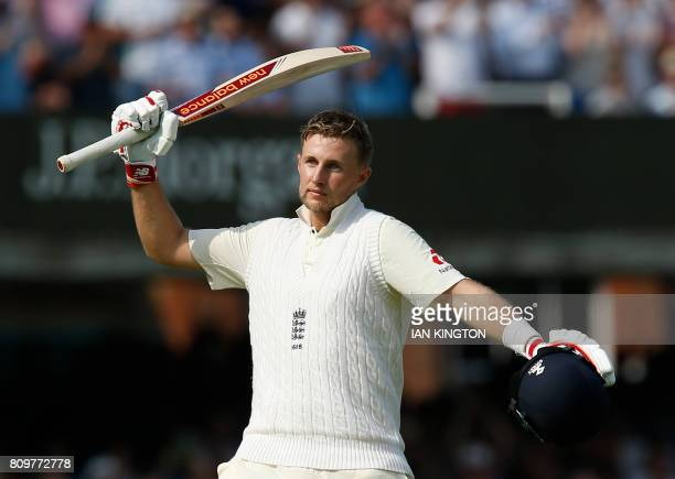 Englands Captain Joe Root celebrates after reaching a century not out during the first day of the first Test match between England and South Africa...