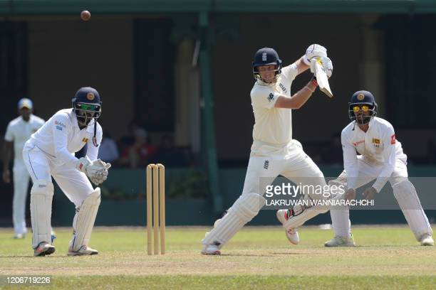 England's captain Joe Root plays a shot during the opening day of a four-day practice match between Sri Lanka Board President's XI and England at the...