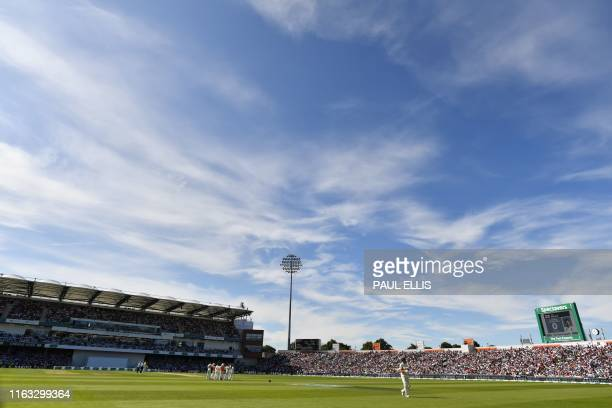 England's captain Joe Root walks back to the pavilion after getting out for 0 runs on the second day of the third Ashes cricket Test match between...