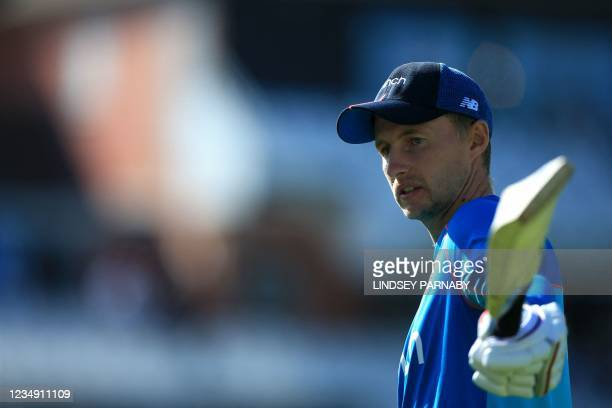 England's captain Joe Root walks on the pitch ahead of play on the fourth day of the third cricket Test match between England and India at Headingley...