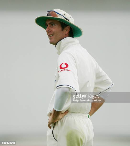 England's captain Michael Vaughan looks on during the 3rd Ashes Test match between Australia and England at Old Trafford cricket ground in Manchester...