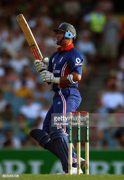 England's captain Nasser Hussain hits to the boundary against Australia