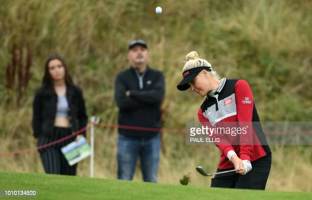 England's Charley Hull chips onto the 6th green on the second day of the 2018 Women's British Open Golf Championships at Royal Lytham & St. Annes...