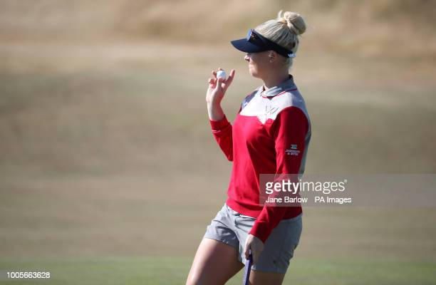 England's Charley Hull on the 17th green during day one of the 2018 Aberdeen Standard Investments Ladies Scottish Open at Gullane Golf Club Gullane