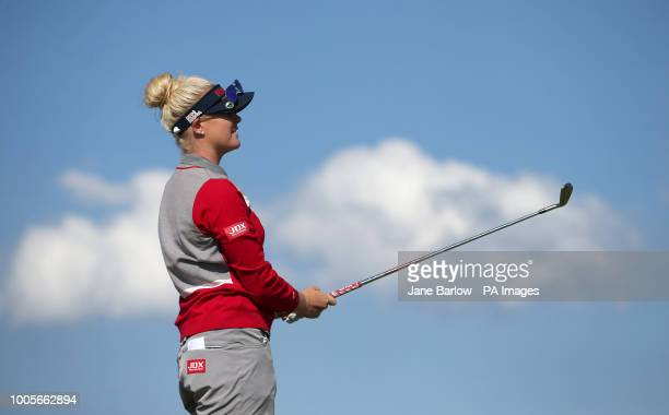 England's Charley Hull on the 17th tee during day one of the 2018 Aberdeen Standard Investments Ladies Scottish Open at Gullane Golf Club Gullane