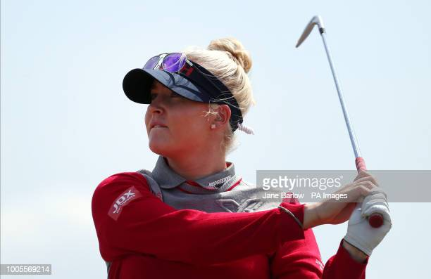England's Charley Hull tees off on the fifth during day one of the 2018 Aberdeen Standard Investments Ladies Scottish Open at Gullane Golf Club