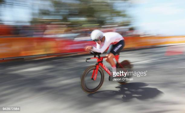 England's Charlie Tanfield competes during the Cycling Time Trial on day six of the Gold Coast 2018 Commonwealth Games at Currumbin Beachfront on...