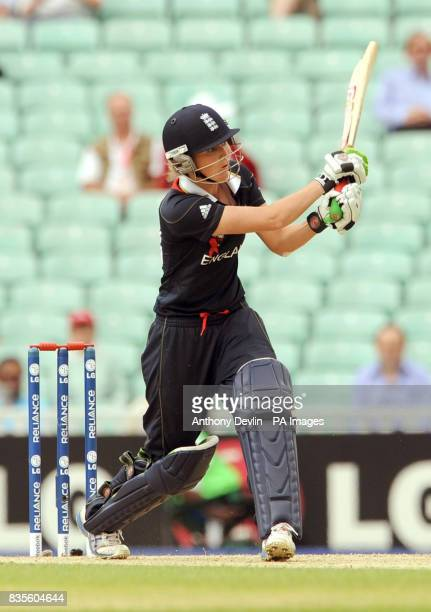 England's Charlotte Edwards bats during the ICC Women's World Twenty20 Semi Final at The Oval London