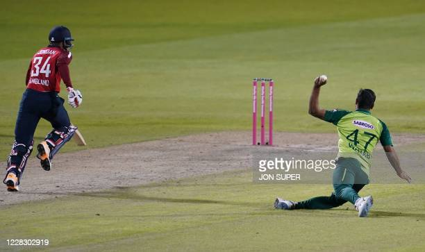England's Chris Jordan is run out by Pakistan's Wahab Riaz during the international Twenty20 cricket match between England and Pakistan at Old...