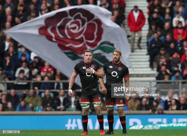England's Chris Robshaw and England's Sam Underhill during the Old Mutual Wealth Series match between England and Argentina at Twickenham Stadium on...
