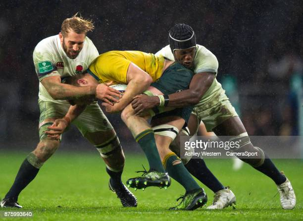 England's Chris Robshaw and Maro Itoje in action during the Old Mutual Wealth Series Autumn International match between England and Australia at...