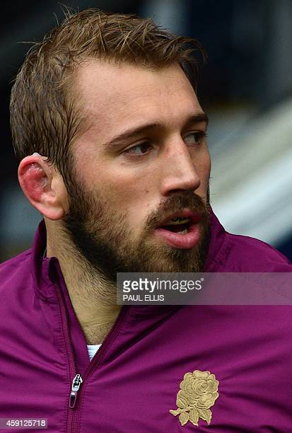 England's Chris Robshaw lines up for the national anthems before the Autumn international rugby union Test match between England and South Africa at...