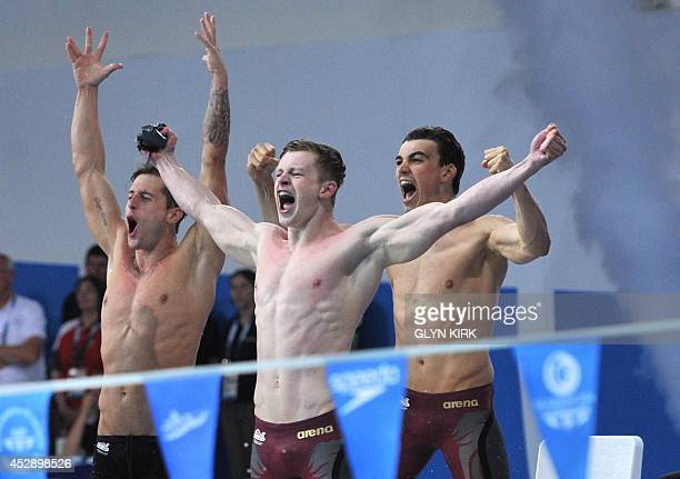 England's Chris WalkerHebborn England's Adam Peaty and England's Adam Barrett celebrate after taking gold in the Men's 4 x 100m Medley Relay Final at...