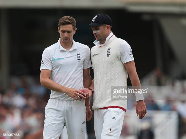 LR England's Chris Woakes and England's James Anderson during Day Three of the Fourth Investec Test Match between England and Pakistan played at The...
