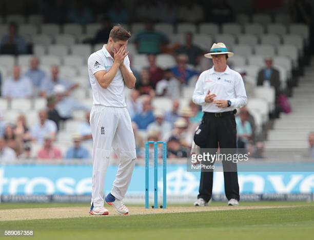 England's Chris Woakes during Day Three of the Fourth Investec Test Match between England and Pakistan played at The Kia Oval Stadium London on...