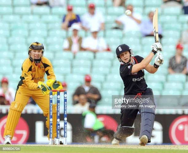 England's Claire Taylor bats during the ICC Women's World Twenty20 Semi Final at The Oval London