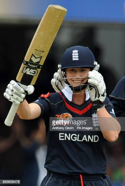 England's Claire Taylor smiles after hitting the winning runs and beating New Zealand during the Final of the Womens ICC World Twenty20 at Lords...