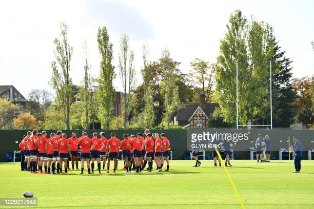 England's coach Eddie Jones attends an England rugby training session at the Lensbury Hotel in Teddington, South West London on October 22, 2020...