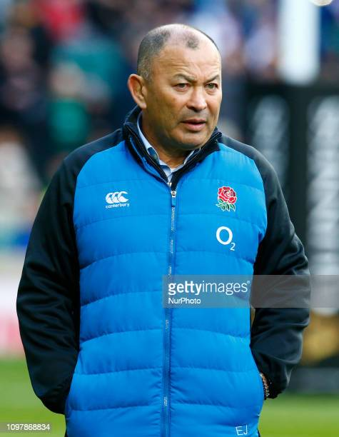 England's Coach Eddie Jones during warm up during the Guiness 6 Nations Rugby match between England and France at Twickenham Stadium on February 10th...