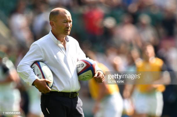 England's coach Eddie Jones looks on ahead of the international Test rugby union match between England and Ireland at Twickenham Stadium in west...