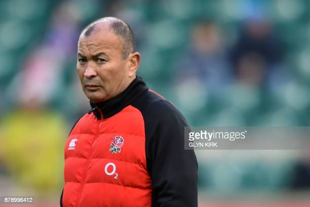 England's coach Eddie Jones looks on before the autumn international rugby union test match between England and Samoa at Twickenham stadium in...