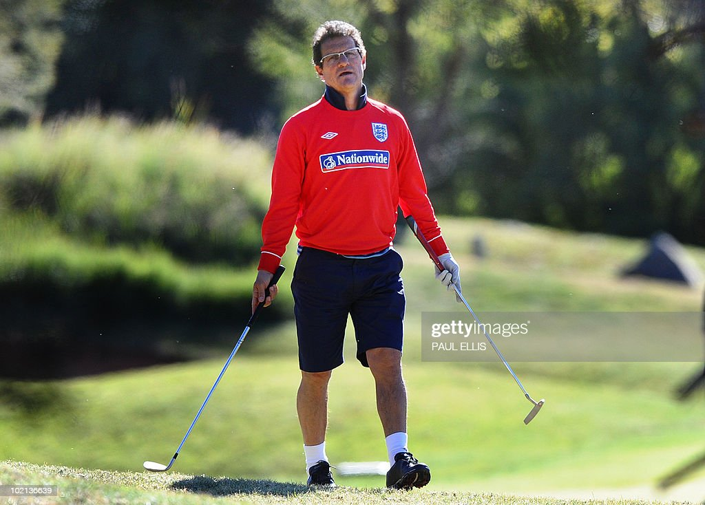 England's coach Fabio Capello plays golf at The Lost City Golf Course at the Sun City resort on June 16, 2010. England face a must-win encounter with Algeria on June 18 as they seek to restore confidence in their ability to make an impact at the 2010 World Cup football tournament.