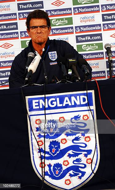 England's coach Fabio Capello speaks during a press conference in Rustenburg on June 28 2010 a day after losing to Germany in their final game of the...