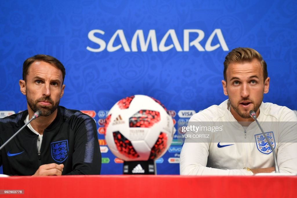 England's coach Gareth Southgate (L) and forward Harry Kane attend a press conference on the eve of the Russia 2018 FIFA World Cup quarter final football match between Sweden and England at the Samara Arena on July 6, 2018 in Samara.