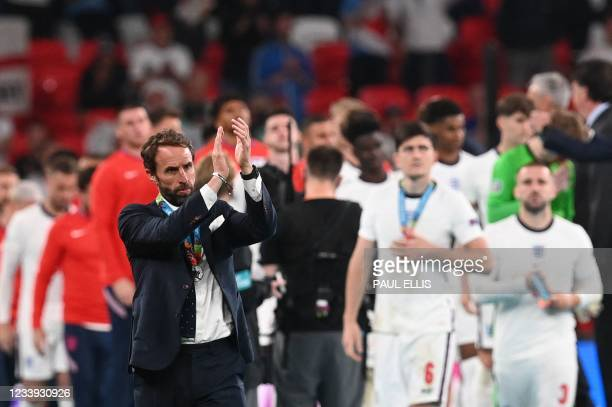 England's coach Gareth Southgate applauds supporters after England lost to Italy in the UEFA EURO 2020 final football match between Italy and England...