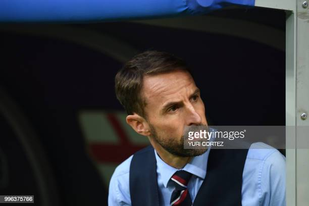England's coach Gareth Southgate attends the Russia 2018 World Cup semifinal football match between Croatia and England at the Luzhniki Stadium in...