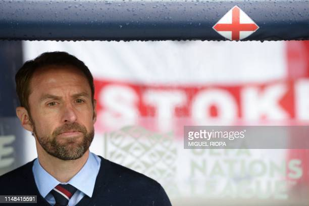 England's coach Gareth Southgate attends the UEFA Nations League semifinal football match between The Netherlands and England at the Afonso Henriques...