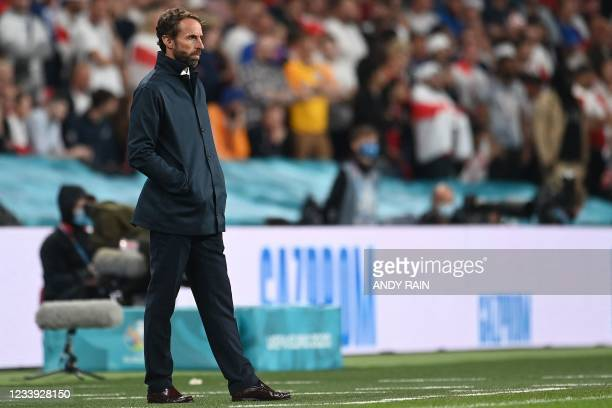 England's coach Gareth Southgate looks on during the UEFA EURO 2020 final football match between Italy and England at the Wembley Stadium in London...
