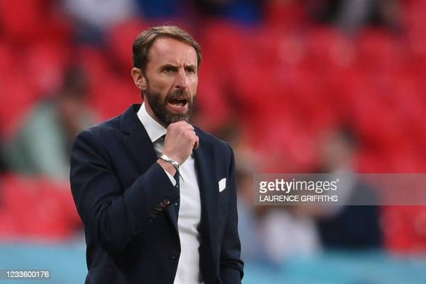 England's coach Gareth Southgate reacts from the sidelines during the UEFA EURO 2020 Group D football match between Czech Republic and England at...