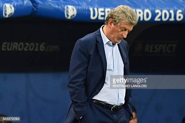 TOPSHOT England's coach Roy Hodgson reacts during the Euro 2016 round of 16 football match between England and Iceland at the Allianz Riviera stadium...