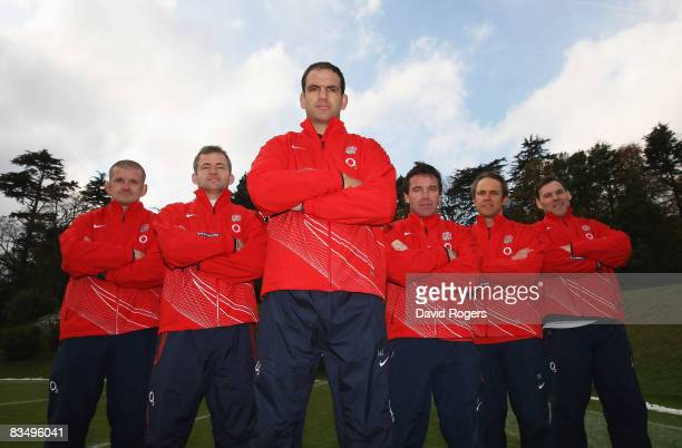 England's coaching team Graham Rowntree Jon Callard Martin Johnson Mike Ford Brian Smith and John Wells pose during an England training session at...