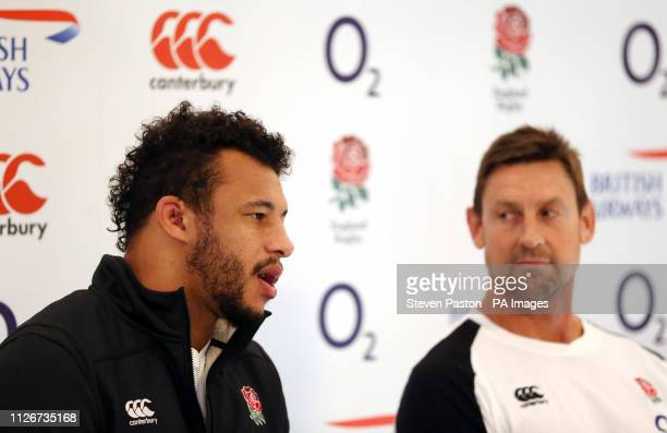 England's Courtney Lawes and attack coach Scott Wisemantel during the press conference at Pennyhill Park Bagshot