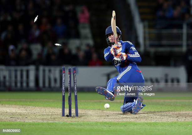 England's Craig Kieswetter is bowled by South Africa's Mornie Morkel during the NatWest International T20 match at Edgbaston Brimingham