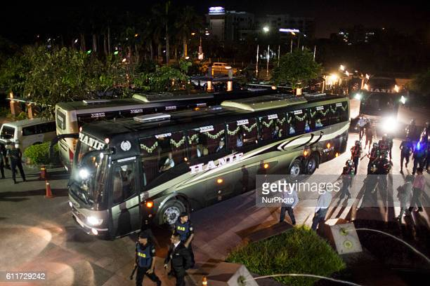 England's cricket team arrives at a hotel in a bus in Dhaka Bangladesh Friday Sept 30 2016 The team is scheduled to play three oneday international...