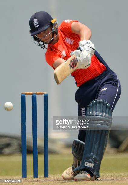 England's cricketer Amy Jones plays a shot during the first T20 international cricket match between Sri Lanka and England at the P Sara Oval Cricket...