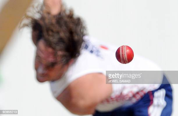 England's cricketer Ryan Sidebottom delivers a ball during a practice session ahead of their second Test match against West Indies in St John's on...