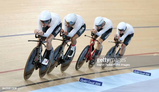 England's Daniel Bigham Kian Emadi Charlie Tanfield and Ethan Hayter in action in the Men's 4000m Team Pursuit Qualifying at the Anna Meares...