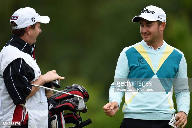 England's Daniel Brooks with his caddie during day two of the BMW PGA Championship at the Wentworth Club Surrey