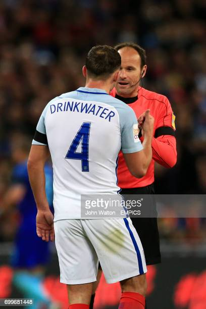England's Daniel Drinkwater appeals to match referee Antonio Miguel Mateu Lahoz during the International Friendly match at Wembley Stadium London