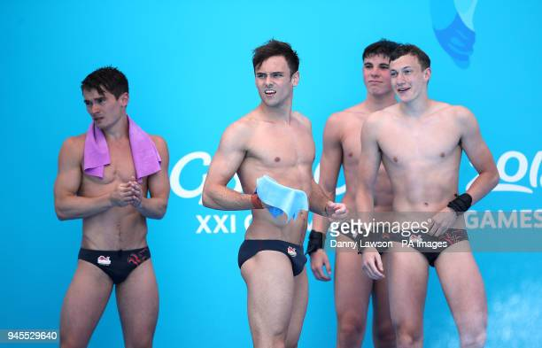 England's Daniel Goodfellow Tom Daley Matthew Dixon and Noah Williams after their final dive in the Men's Synchronised 10m Platform Final at the...