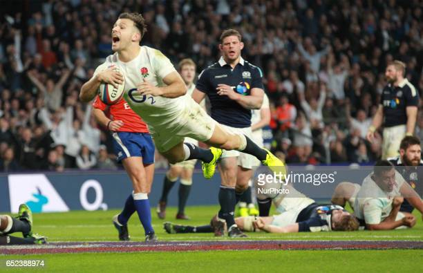Englands Danny Care scores a try during the RBS 6 Nations match between England and Scotland at Twickenham Stadium on March 11 2017 in London England