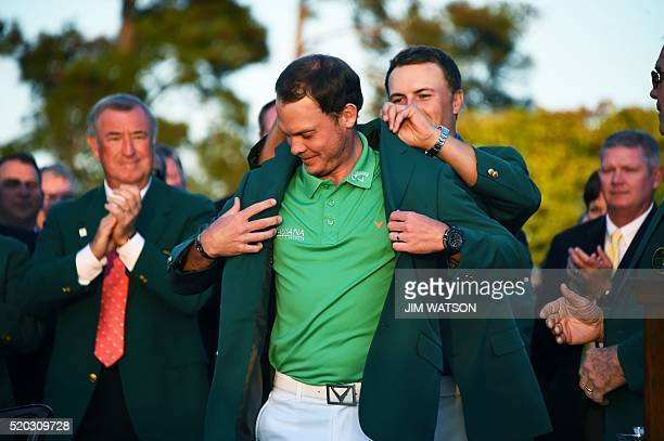 England's Danny Willett poses wearing his Green Jacket at the end of the 80th Masters Golf Tournament at the Augusta National Golf Club on April 10...